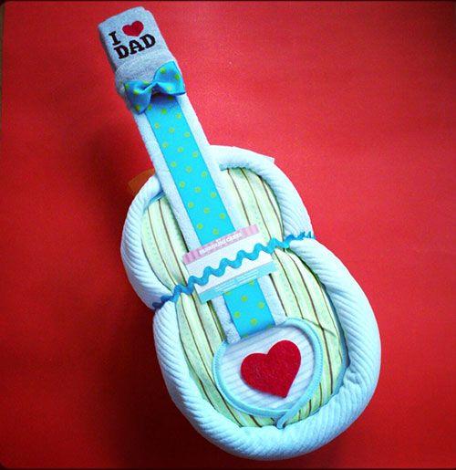 Guitar Diaper Cake - 10 Creative Diaper Cakes for a Baby Shower