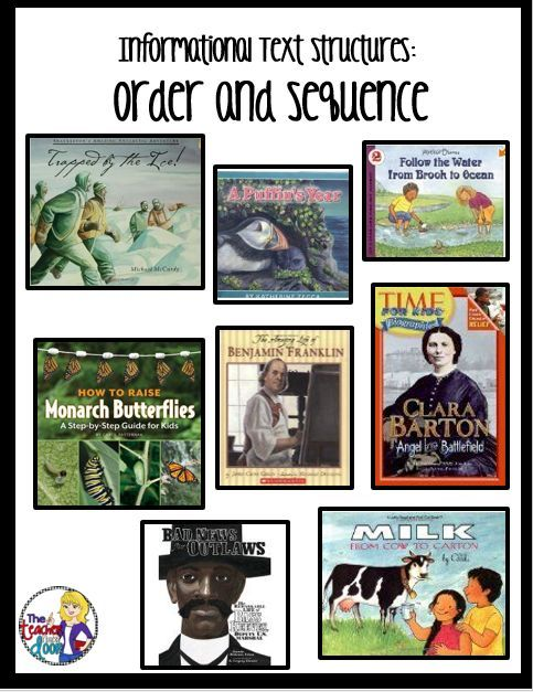 Mentor texts for informational text structures: Order and Sequence. Lots of tips on this post for teaching informational text structures.