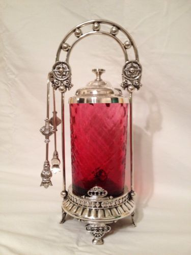 Victorian Pickle Castor Cranberry Glass Meriden Silverplate Co.