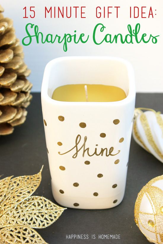 Quick and Easy DIY Gold Sharpie Candle - great holiday gift idea