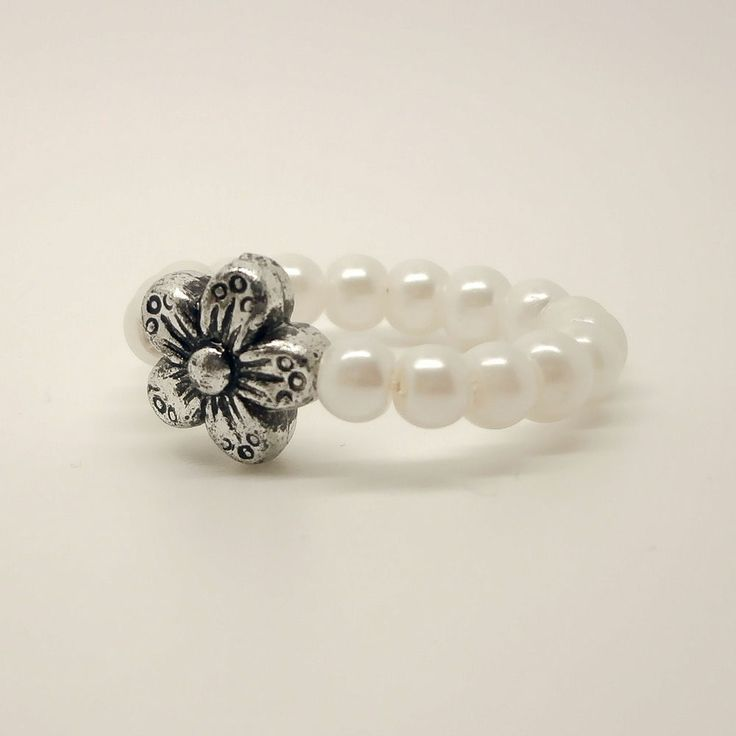 handmade stretch rings | Handmade White Pearl Stretch Thumb Ring With Tibetan Silver Flower ...