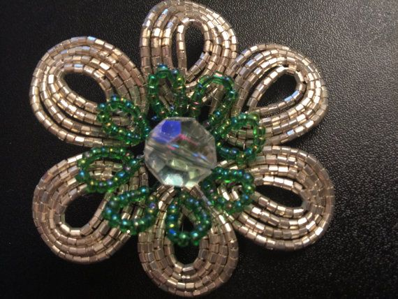 Beaded flower clip and brooch 2 in 1 by ANGELSBEADSFLOWERS on Etsy