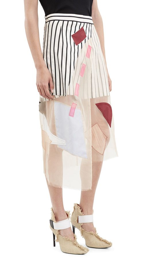 Acne Studios Karan patch skirt is constructed of an assortment of patches #AcneStudios