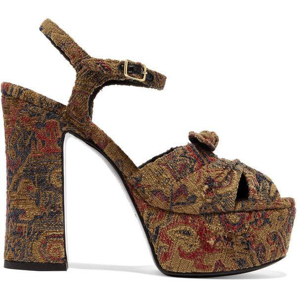 Saint Laurent Saint Laurent - Candy Brocade Sandals - Beige ($850) ❤ liked on Polyvore featuring shoes, sandals, floral platform sandals, flower print shoes, beige shoes, antique shoes and platform shoes