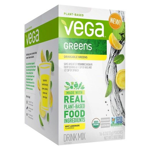 • Only 15 calories per pouch<br>• As much Vitamin C and A in every serving as 1 cup of kale and ½ cup of spinach<br>• Made from leafy greens, sprouts, grasses and green algae <br>• No sugar added<br>• 16 pouches per box<br><br>Convenient and clean, Vega Greens Mint Lemonade Drink Mix is made from real, plant-based ingredients packed with nutritional support you can take wherever your busy life takes you....