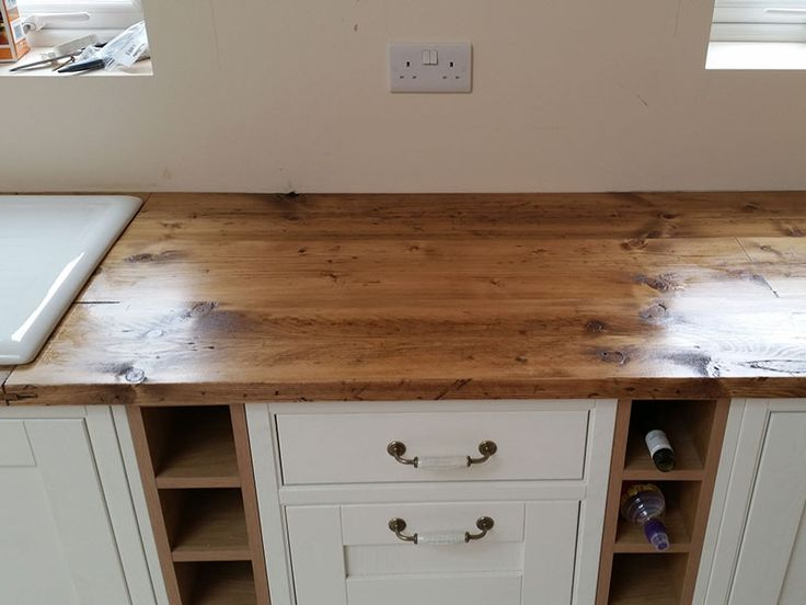 Reclaimed pine scaffold boards for kitchen worktop— Dove Furniture & Kitchens York
