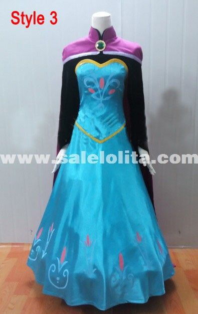 2014 Frozen Costume Adult Elsa Cosplay Elsa the Snow Queen Coronation Outfit Halloween Costume for Women Fantasy Dress