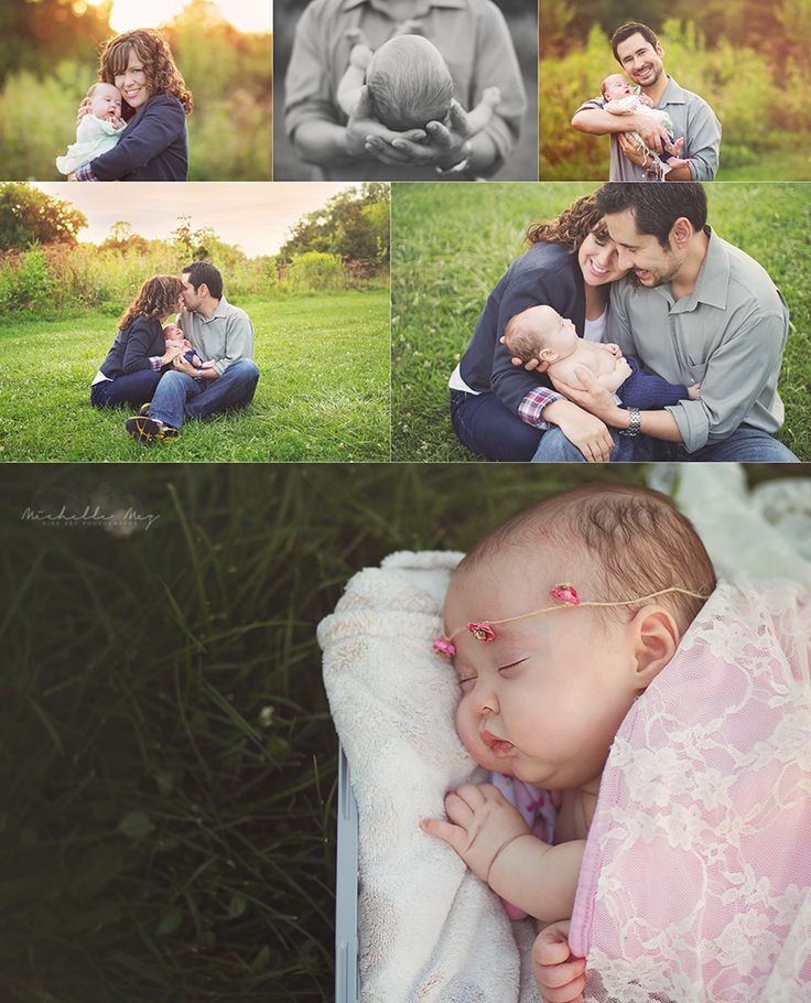 Older newborn preemie 6 weeks old newborn family session outdoor newborn session
