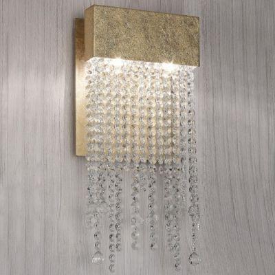 Arandela Dourada Material: Alumínio e Cristal. Acabamento Folha de Ouro. C 150 x Alt. 470 x L 55