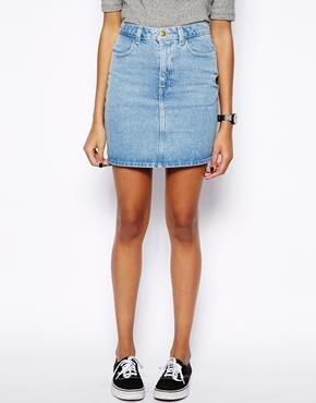Джинсовая юбка с очень высокой талией