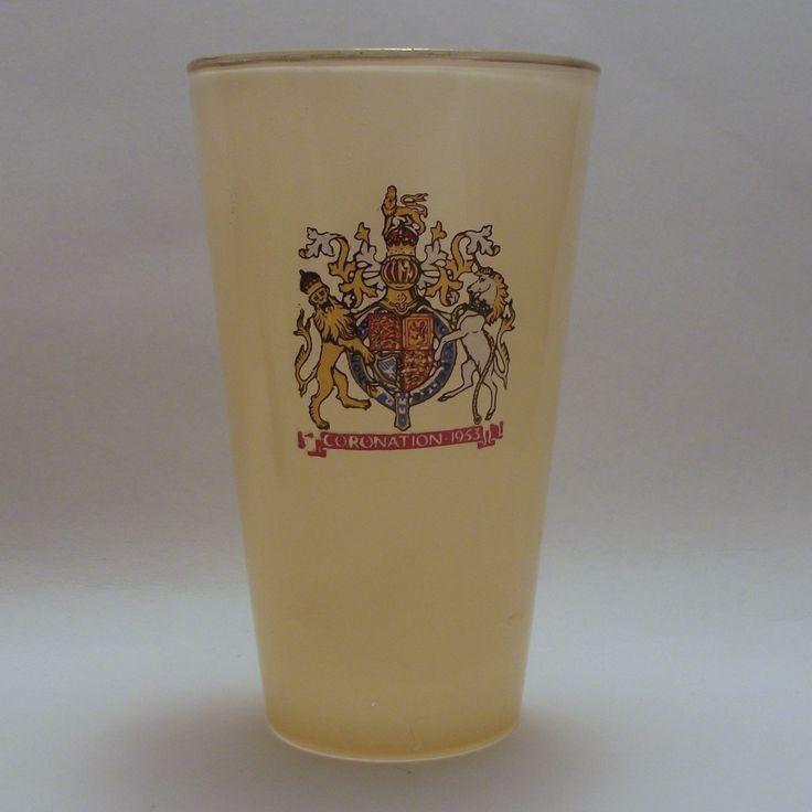 Chance glass 1953 Coronation yellow glass tumbler