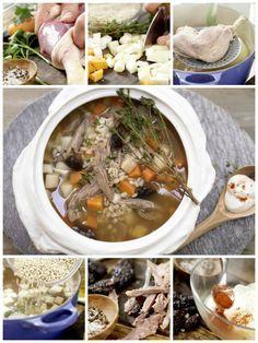 Mehr Würze aus Geflügel, Gemüse und Graupen passt in keinen Suppentopf: Gerstensuppe – smarter mit Ente, Backpflaumen und Wurzelgemüse | http://eatsmarter.de/rezepte/gerstensuppe-smarter