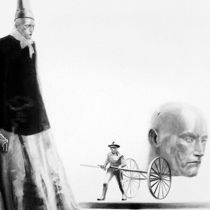 Lorene Taurerewa, detail, Dr Hoffenkopf, charcoal on paper