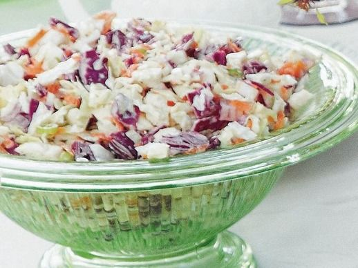 Spicy Coleslaw from 'Around the Southern Table' I used juice of one lime instead of lemon, and sour cream instead of buttermilk. Also went light on horseradish.