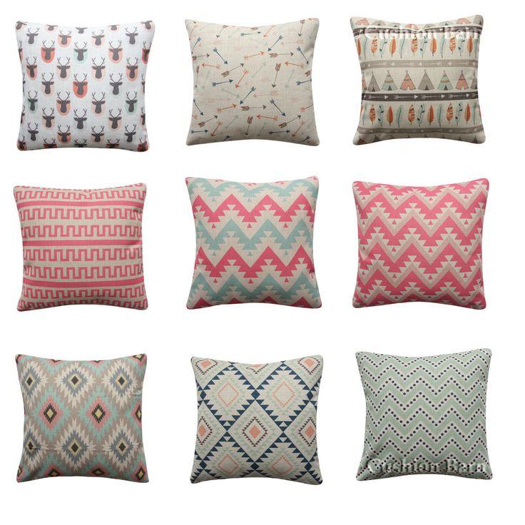 Mint Pink Tribal 45cm x 45cm Cushion Cover Deer Arrows Pillow Cover