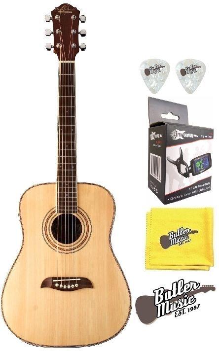 Oscar Schmidt OG1 Natural Finish 3/4 Size Acoustic Guitar w/Effin Tuner  More
