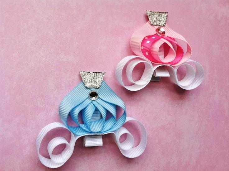 Princess Carriage Ribbon Sculpture Hair Clips. $6.95, via Etsy.