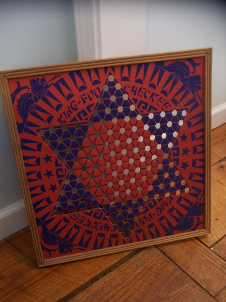 1940's antique chinese checkers board game-vintage wooden frame with bright red and blue designs-kitsch King Foo chinese checker set.