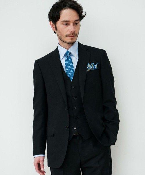 <結婚式 列席者メンズ ワイシャツ> 淡いブルー×ブルーネクタイ