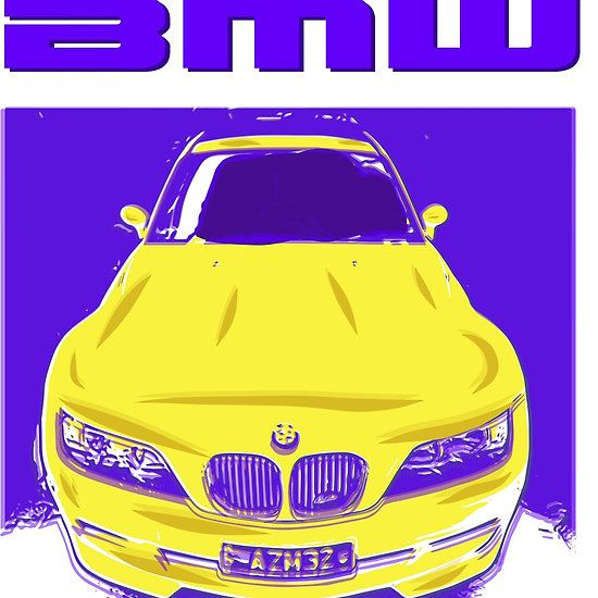 BMW yellow lithograph