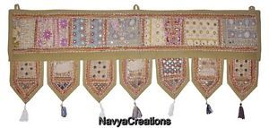 Home Decor embroidered toran door valances wall hanging Vintage Window Indian .
