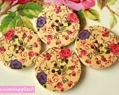 Wood buttons 4pcs 30 mm- Big Painted Wooden buttons 30mm- Painted Wood Buttons 4pcs- Big Round Button- Floral Buttons
