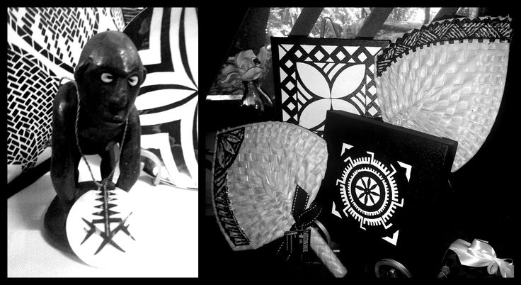 "Solomon Island Tema, fan print cushion, and plate....with handpainted woven fan and wall hangings. ""Ali'i Collection"", Black and White, at Plantation House, Samoa."