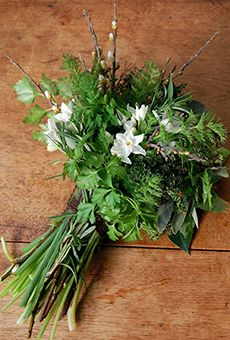 Green Herb Bouquet of Bay, Dill, Parsley, Rosemary, Thyme, and Narcissus | Wedding Flowers
