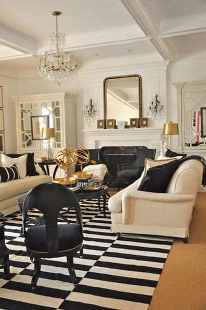 Black and cream with gold accents living rooms pinterest for Black and gold room