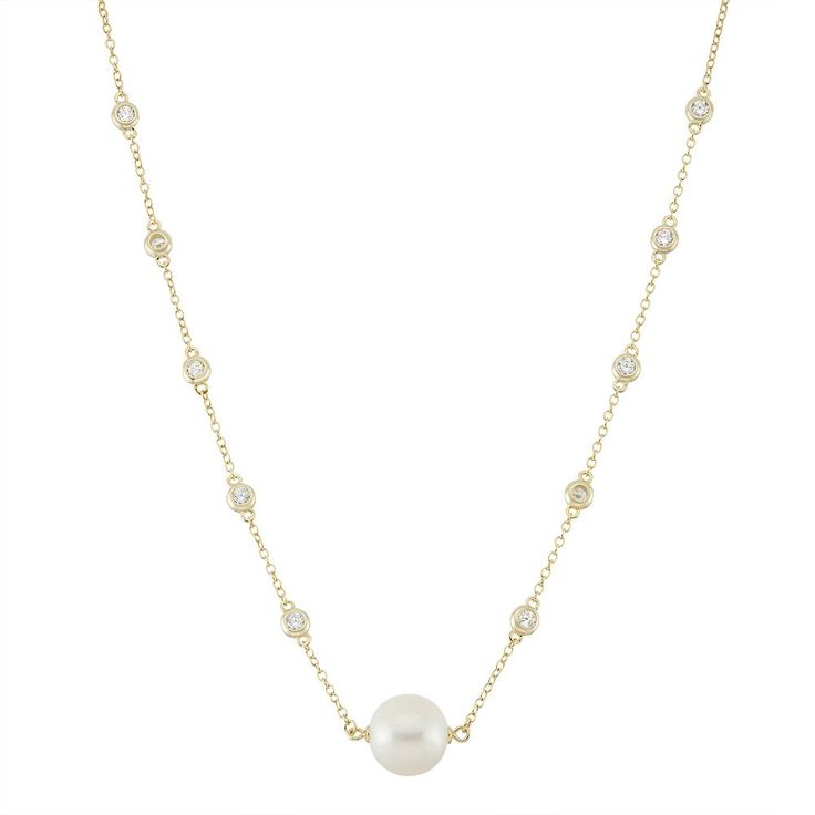 "14k Gold Over Silver Freshwater Cultured Pearl & Cubic Zirconia Station Necklace, Women's, Size: 18"", White"