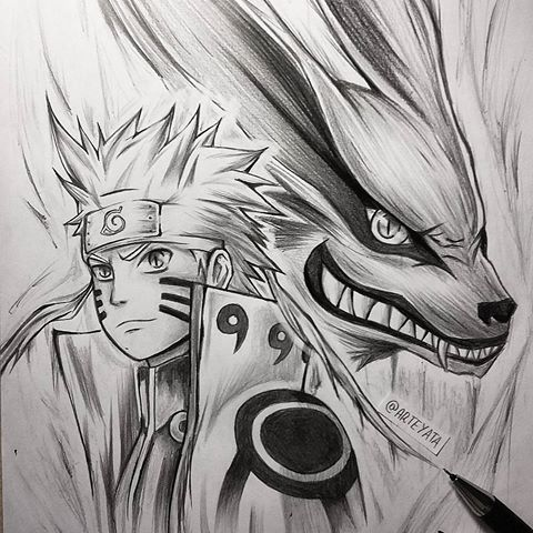 Naruto and Kurama sketch for you guys! - Made it using 2B, 3B and 4B Faber-Castell pencils and 0,5mm HB mechanical pencil for the outlines