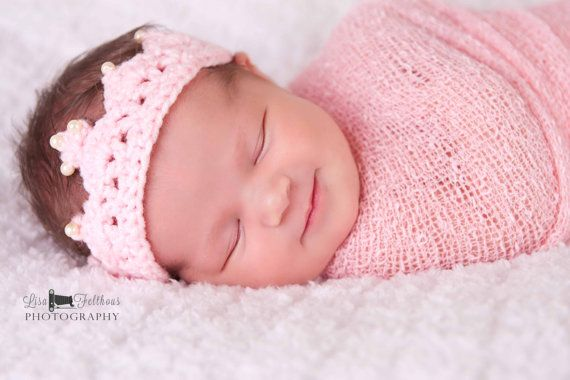 Crochet baby crown, Baby girl tiara, First birthday princess crown, Little girl pink crown, Baby girl hair accessories Toddler crown on Etsy, $12.00