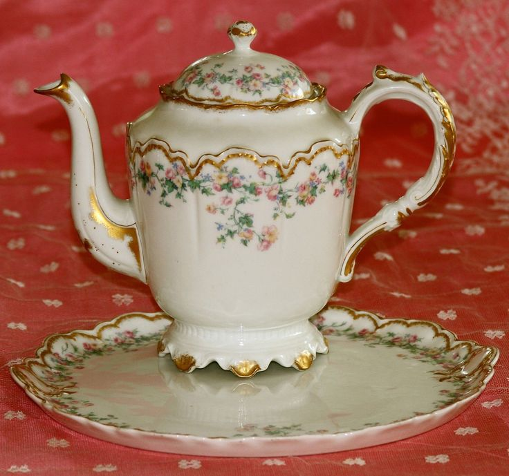 Antique Haviland Limoges France chocolate set consisting of a chocolate pot, an open sugar bowl, a creamer, and a tray in a beautiful floral pattern; featuring pink and yellow roses and blue flowers. | eBay!