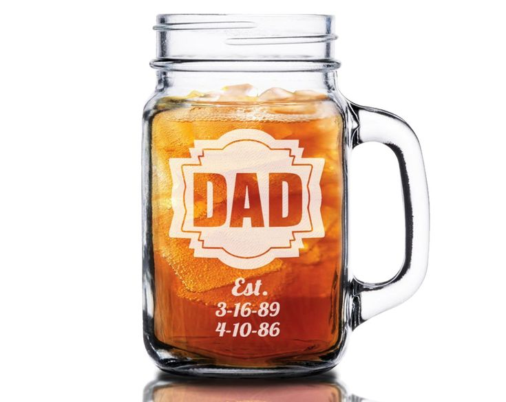 16 Oz Dad Fathers Day Gift Idea Engraved Mason Jar Beer Mug Personalized Drinking Glass Etched Gift for Father Grandpa Kids Birth Dates (24 Oz)