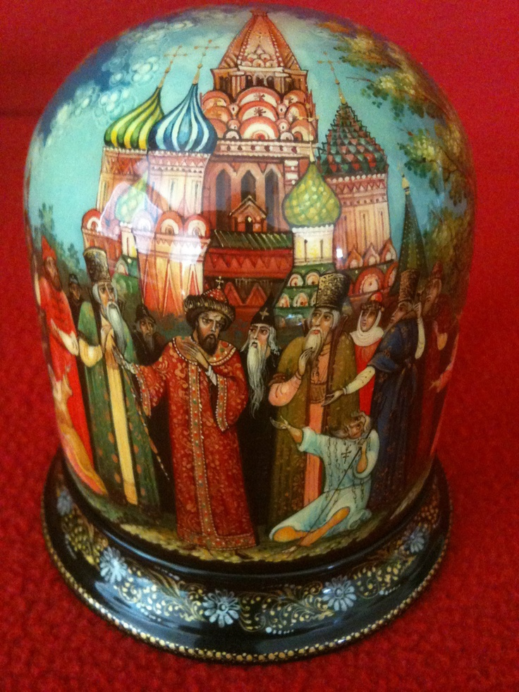 """Mstera Russian Lacquer Box Titled """"St. Basil's Cathedral"""""""
