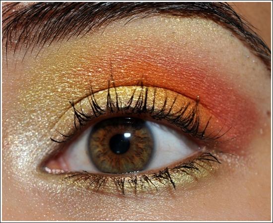 MAC Fresh Daisy Eyeshadow (warm white), MAC Bright Sunshine Eyeshadow (bright yellow with shimmer), MAC Rule Eyeshadow (orange), MAC Free to Be Eyeshadow (coral), Burberry Trench Eyeshadow (highlighter)