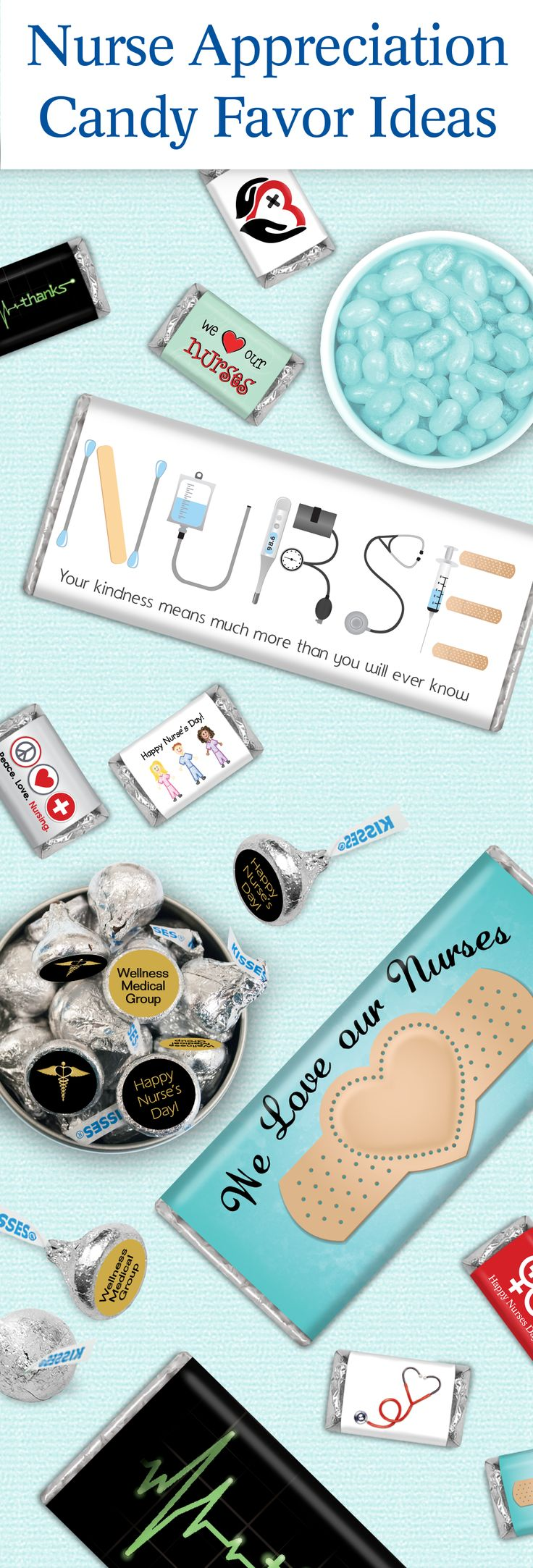 Nurse Appreciation Gifts: Personalized Candy Bars and Stickers for KISSES Candy - Affordable Nurse's Week and Nurse's Day Gifts to show you care!