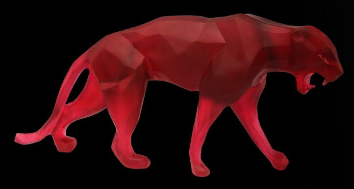 Daum Crystal Wild Panther Small Red 05335-2