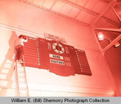 Williston High School field house score keepers, N.D.