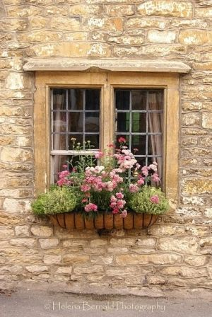cottage window. Stone façade and gorgeous paned window with window box.  http://www.mobilehomerepairtips.com/mobilehomewindowpanereplacement.php has advice for the diy homeowner on what windows are available in the marketplace when it's time to install a replacement.