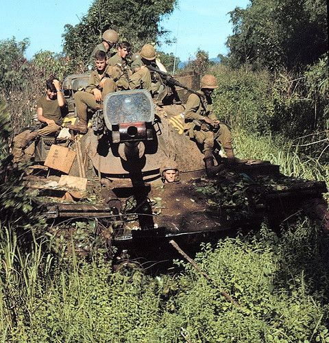 US Army M48 Patton tank on security near LZ Bison, 1969.