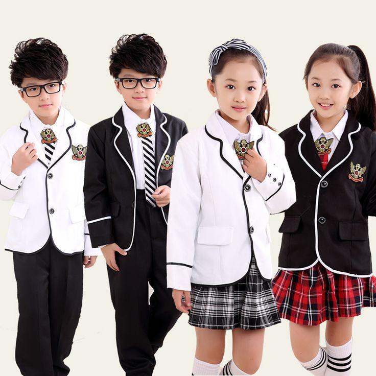 Children's Primary School Uniform Students Chorus Costumes Clothing Winter Long Sleeved British Student School Uniforms Reading