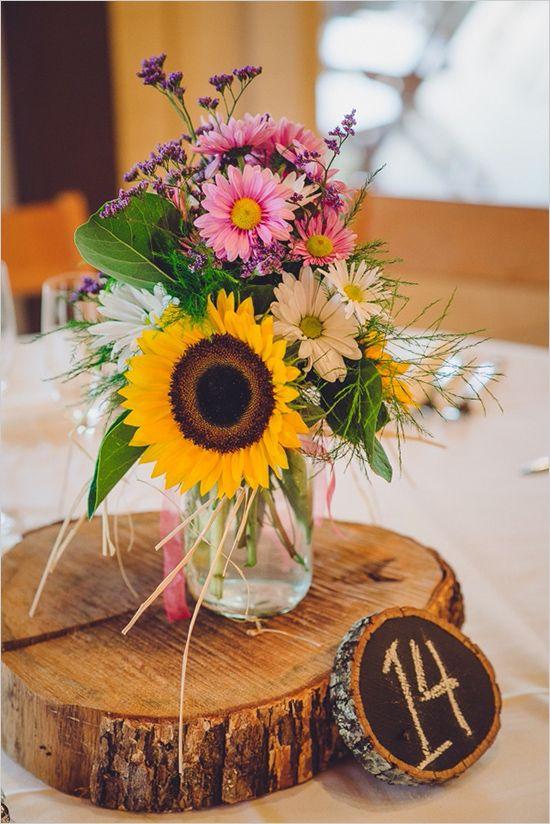 Quirky Cute Southern Wedding Sunflower ArrangementsRustic CenterpiecesColorful