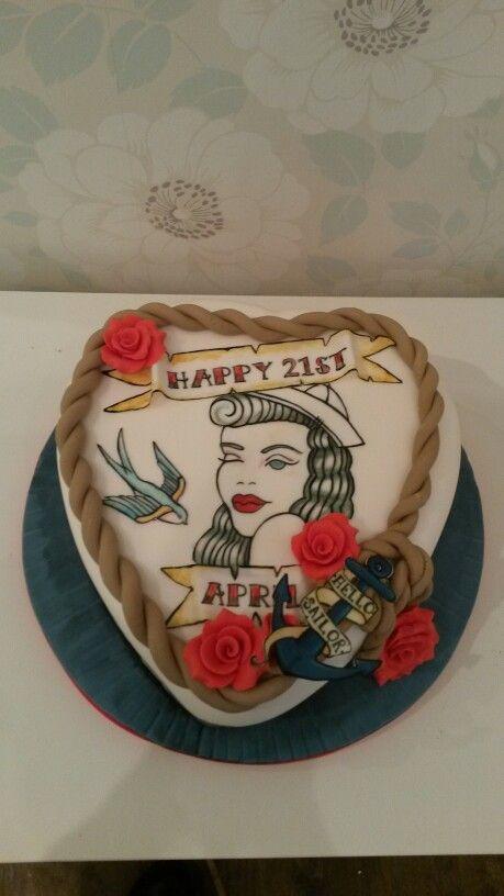 Best Amys Cake Ideas Images On Pinterest Tattoo Cake - Rockabilly birthday cake