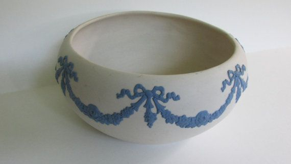 ECanada Art Pottery JASPERWARE BOWL white by hoarderwithnoborder, $15.00