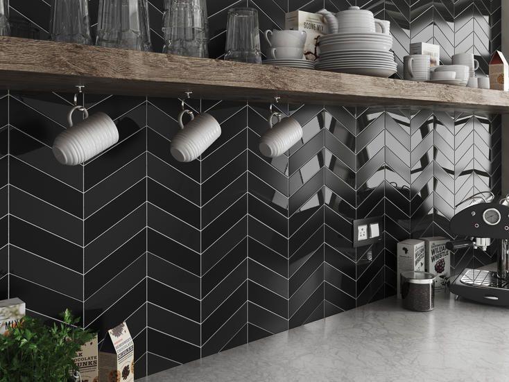 Schwarze Fliesen für die Küche