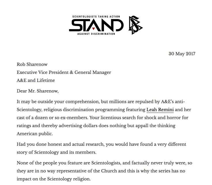 """A&E–Profiting Off Religious Hate Campaign    Thousands of interested people walk into Scientology Churches for the first time every week to find the answer—for themselves—to the question: """"What is Scientology?""""    Read the entire letter on @STANDleague http://qoo.ly/iezhh"""