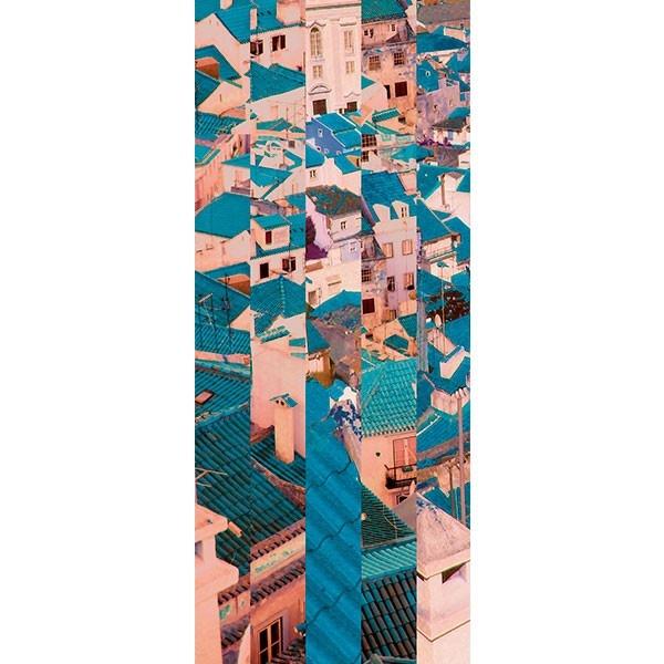 Mural com montagem gráfica, de vista sobre os telhados de Lisboa.  Em Papel levemente texturado matte, é de fácil aplicação e remoção, podendo ser reaplicado noutra parede .    É a verdadeira  celebração da Cultura Portuguesa em Papéis de parede.