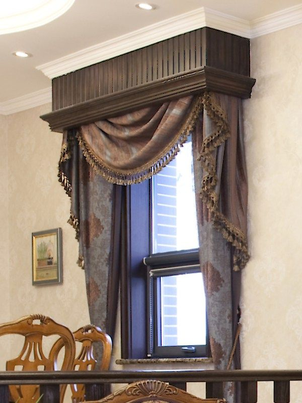 Blue And Brown Custom Valance Blue And Brown Valances And Shades