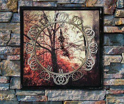 Horloge murale d'automne forêt arbre, décoration de mur art décorations, impression numérique photographier Accueil décor photographie de la Nature, Vintage look par Design4Homes sur Etsy https://www.etsy.com/fr/listing/210246016/horloge-murale-dautomne-foret-arbre